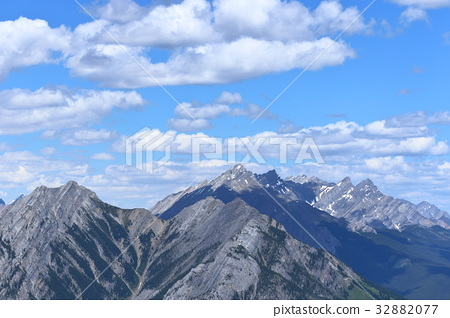 Landscape from the top of the Canadian Rockies Banff Gondola