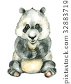 watercolor sitting panda 32883719