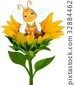 Queen Bee on Sunflower 32884462