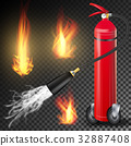 Fire Extinguisher Vector. Burning Fire Flame And 32887408