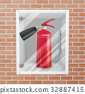 Fire Extinguisher In Wall Niche Vector. Realistic 32887415