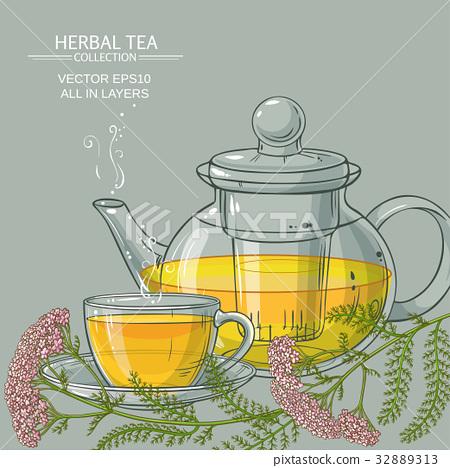 cup of yarrow tea and teapot 32889313