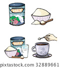 Vector set of cartoon illustration of milk powder 32889661