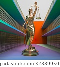 Prison bars and Lady of Justice 3d rendering 32889950