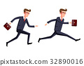 Silhouette illustration of a businessman running 32890016