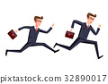Silhouette illustration of a businessman running 32890017