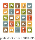 Autumn icon set on colored squares with shade 32891895