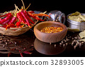 Spices and herbs, bay leaf, black pepper and 32893005
