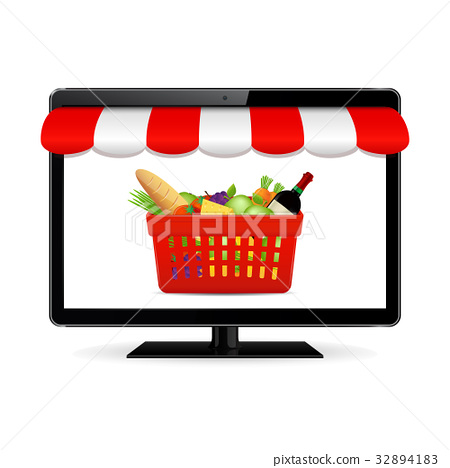 Buy food online. Vector online shopping concept 32894183