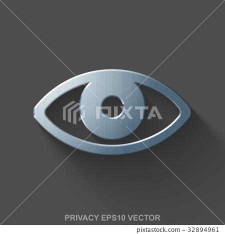 Flat metallic safety 3D icon. Polished Steel Eye 32894961