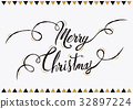 Merry christmas lettering text greeting card 32897224