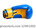 one blue boxing mitts on a white background 32901092
