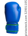 one blue boxing mitts on a white background 32901105
