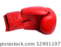 one Red boxing mitts on a white background 32901107