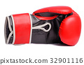 one Red boxing mitts on a white background 32901116