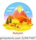 Autumn landscape with trees, mountains and hills 32907487