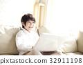 노트북, 미소, 어린이 32911198