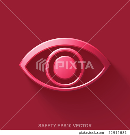 Flat metallic protection 3D icon. Red Glossy Metal 32915681