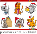 cats on Christmas time cartoon set 32918441
