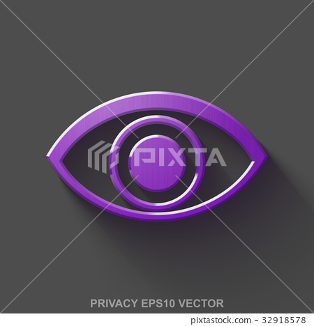Flat metallic safety 3D icon. Purple Glossy Metal 32918578