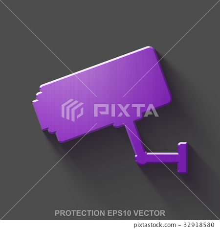 Flat metallic protection 3D icon. Purple Glossy 32918580