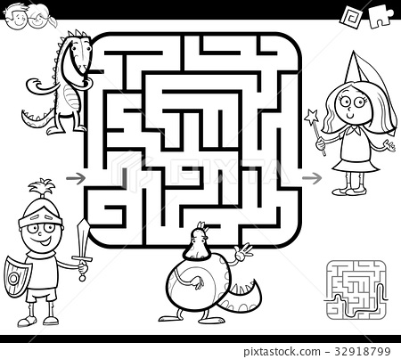 maze activity game with fantasy characters 32918799