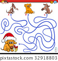 paths maze game with cartoon dogs 32918803