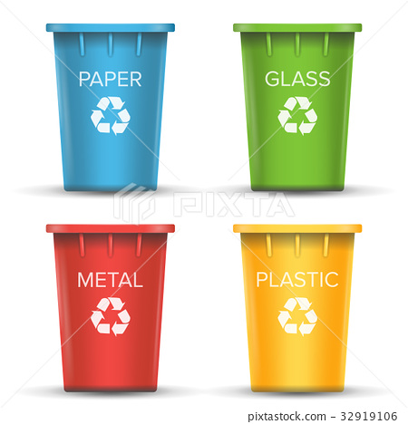 Multicolored Recycling Bins Vector. 3D Realistic 32919106