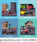 Ghetto Slum Icon Set 32919885
