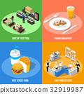Fast Food 2x2 Isometric Design Concept  32919987