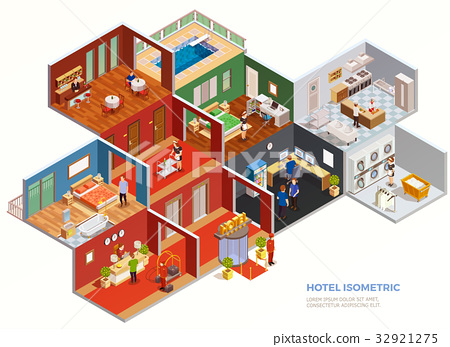 Hotel Isometric Composition 32921275