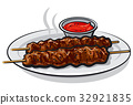 kebabs with sauce 32921835