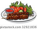 hot grilled kebab 32921836