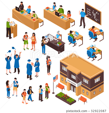 Students And Teachers Isometric Set 32922087