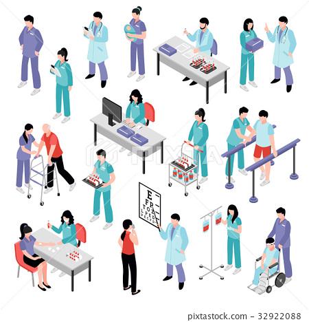Doctor Nurse Hospital Isometric Set 32922088