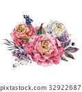 水彩画 水彩 花束 32922687