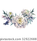 Watercolor White Peonies and Foliage Bouquet 32922688