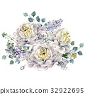Watercolor White Peonies and Lilac Bouquet 32922695