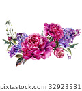 Fuchsia Peonies and Lilac Watercolor Decoration 32923581