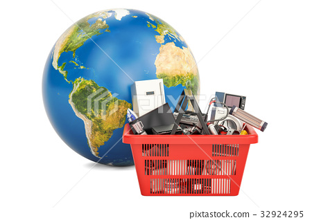 Globe Earth with shopping basket 32924295