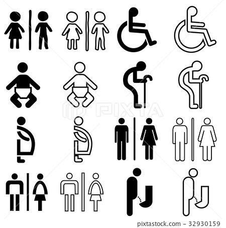 toilet sign icon set 32930159