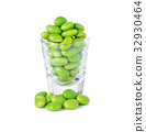 green soybeans on white background 32930464