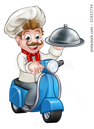Cartoon Chef on Moped Scooter  32933734