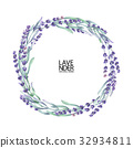 Watercolor lavender wreath 32934811