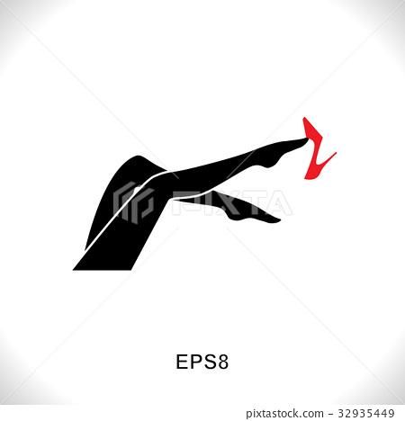 women leg icon with red shoe �������� 32935449 pixta