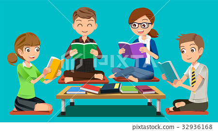 Group reading attentively in public libraries. 32936168
