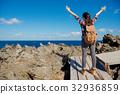 woman hiker cheering success and joy 32936859