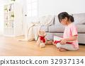 lovely teddy bear accompanied with girl 32937134