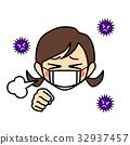감기, 마스크, 기침 32937457