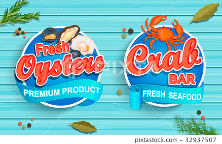 Seafood emblems on blue wooden background 32937507